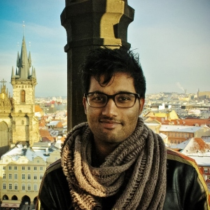 Omar O'Khanada at the astronomical clock.
