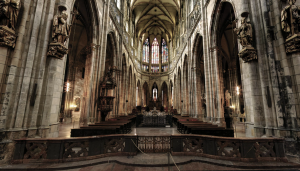 The stunning St. Vitus Cathedral is at the heart of the Prague Castle.