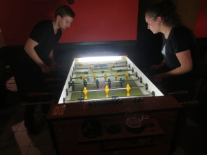 Amateur players come together at the Voodoo Music and Foosball Pub for friendly matches.[Photo by Thomas Sloan]