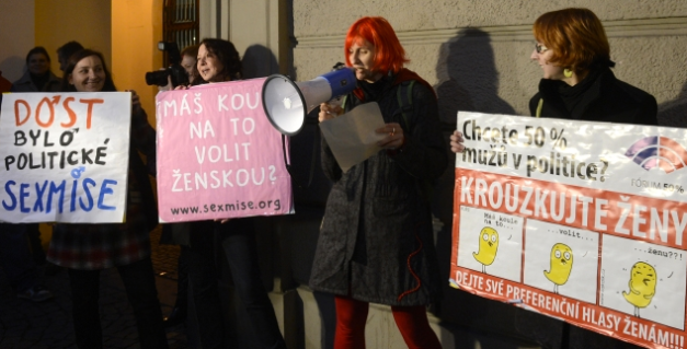 Women in Prague protest for equal gender rights.