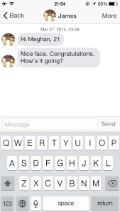Typical Tinder ice-breaker. Photo courtesy of Meghan Gambichler.
