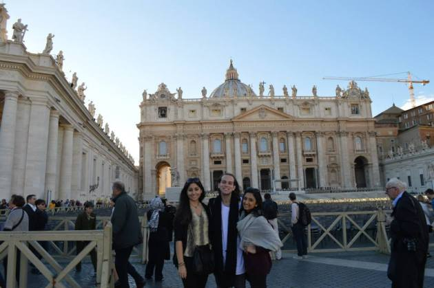 Writer Celine Sidani and her friends posed in front of St. Peter's Basilica. Photo courtesy of Gabrielle Gunin