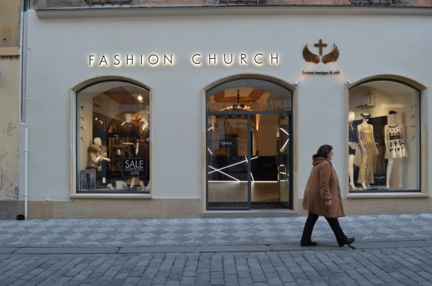 The more-upscale Fashion Church is an upscale boutique located on Zelezna near old town square. Photo by Peter Slattery.
